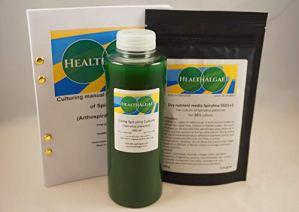 HealthAlgae Spirulina platensis Vivante (500 ML) + 10 L de Milieu de Culture de spiruline Sec SSD1 + 2 – Culture d'algues + Engrais (500+10)