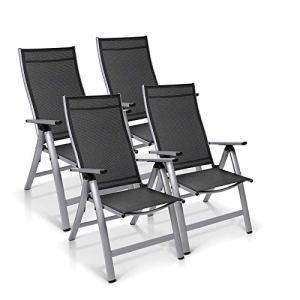 Homeoutfit24 Sun Garden Premium Line Lot de 4 chaises de jardin à dossier haut en aluminium Argenté