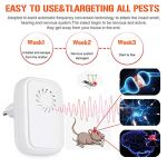 Hospaop Lot de 4 répulsifs à ultrasons anti-moustiques à ultrasons répulsifs pour reptiles insectes électrique, ultrasons pour insectes d'intérieur, anti-moustiques, cafards, puces