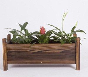 Hyzb Boîte à Fleurs en Bois rectangulaire, bac à Fleurs en Bois Balcon Bassin de légumes Grande Auge en Bois (Size : 60cm)