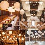 ilauke 12pcs Lampion Papier Blanc Lanterne Blanche à Papier Rond Lampe pour Anniversaire Décorations de Mariage Décorations Artisanales (6″ 8″ 10″ 12″)