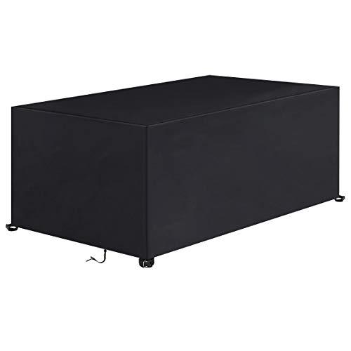 IREGRO Couverture Bâche de Protection de Table, Housse de Protection rectangulaire pour Table et chaises d'extérieur, Coupe-Vent/UV/imperméable, Oxford 420D résistant aux déchirures (180x122x74cm)