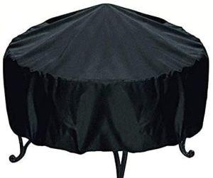 iweed Housse De Protection pour Braséro Ronde Anti-UV Imperméable Bâche Couverture Jardin avec Cordon Noir Accessoires pour Foyer D'extérieur