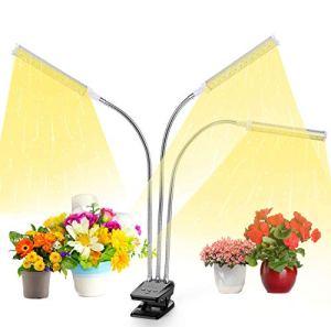 Lampe de culture LED à spectre complet pour plantes d'intérieur avec minuteur, 3 modes de commutation 10 réglages de luminosité