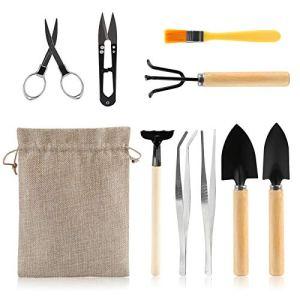 LIHAO 10 Pièces Outils pour Bonsaï, Kits d'Outils de Jardinage, Outil de Plantation pour Succulentes Cactus, Sécateur Râteau Pelles Taille Mini