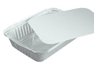 Lot de 100 bacs en aluminium einlegdeckel, carton, revêtement pE carré 0,8 l r84L 21,8 x 15,5 cm