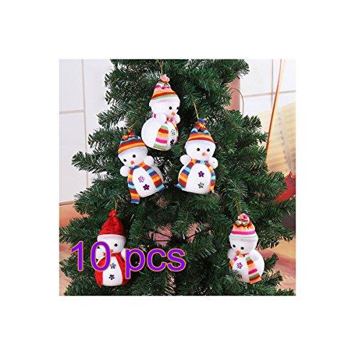 Lulalula de Noël Bonhomme de neige Ornements Pendentifs de Noël à suspendre Décoration de fête Décoration d'arbre de Noël poupée pour jardin extérieur Porte-clés, Tissu, 10 pièces, Taille unique