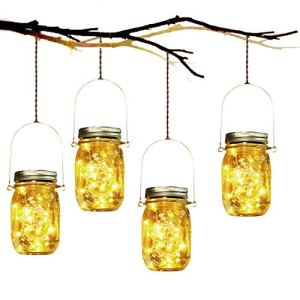 Lumière de Jardin Solaire – 4 Pièces Lanterne de Verre Solaire Imperméable Mason Jar Lanterne Jardin Exterieur pour Décoration de L'éclairage Intérieur Extérieur Chambre Maison Noël (4 Pièces)