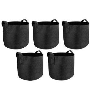Maison & White Plant Grow Bags | Pots de Croissance aérés à Face Douce en Tissu Non tissé Respirant | Sacs de jardinière pour légumes, Fleurs et Pommes de Terre de Jardin | M&W (5 Gallons)