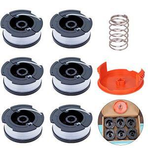 ManLee 6pcs Black + Decker Bobine de Rechange de Tondeuse à Gazon en Nylon pour Coupe-Bordure Bobine de Fil Debroussailleuse avec Couvre-bobines et Ressorts pour Black + Decker
