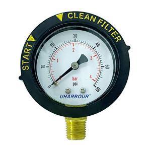Manomètre UHARBOUR 60 psi, cadran de 5,1 cm avec étui de protection et support central BSPT de 1/4″ par le bas, manomètre pour filtre de piscine, spa et aquarium.