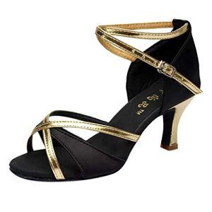 Meilleure Vente!LuckyGirls Chaussures de Danse Latine pour Fille Talons Hauts Chaussures de Satin Chaussures de Danse Salsa Tango(Noir,39)