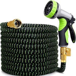 MOSFiATA Tuyau d'arrosage flexible de 50 m avec pistolet en acier inoxydable en laiton 9 types de pomme de douche 3750D Matériau polyester résistant à l'usure pour maison, jardin, terrasse et voiture