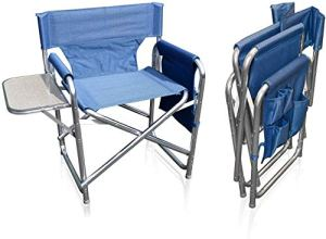 MP Essentials Chaise robuste et portable dotée de poches et d'une table, idéale pour entraîneurs, événements sportifs, bleu