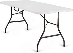 Nestling® Table pliante de jardin blanche idéale comme table de camping, de buffet, de cuisine, table extérieure pliante avec poignée Tavolo da 1,8 m Blanc