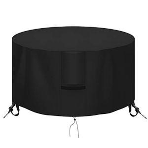 OKPOW Housse de foyer ronde étanche 600 D, anti-UV, résistant aux déchirures en tissu Oxford pour foyer rond Noir 91 x 50 cm