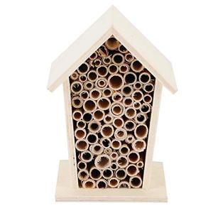 Oumefar Boîte de Nidification d'abeille d'abri en Bois Naturel de Maison d'insectes et d'insectes en Bois avec des canaux tubulaires pour la décoration de Balcon de Patio extérieur de Jardin