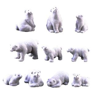 Ours polaire Moss Microlandscape de jardin en résine miniature Ours polaire Figurines 10Pcs Accessoires de produits ménagers
