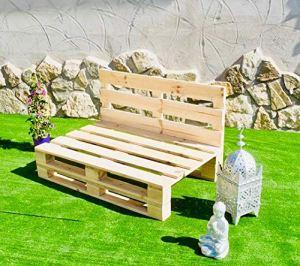 Palets Talavera SL – Canapé poncé et brossé pour intérieur/extérieur, finition naturelle (120 x 80 cm)