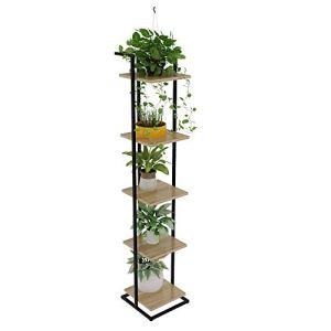 Plante Shelf Bibliothèque à 5 tablettes Multifonction échelle en Forme Plante Jardinière Porte-Livre Rack étagères de Rangement (Color : Wood, Size : 30x30x150cm)