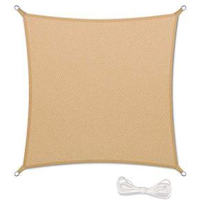 Qdreclod Voile d'ombrage 2x2m Auvent Résistante aux Imperméable pour Patio & Terrasse Jardin de Protection Solaire 90% Une Protection des Rayons UV avec Corde Libre Carré Sand