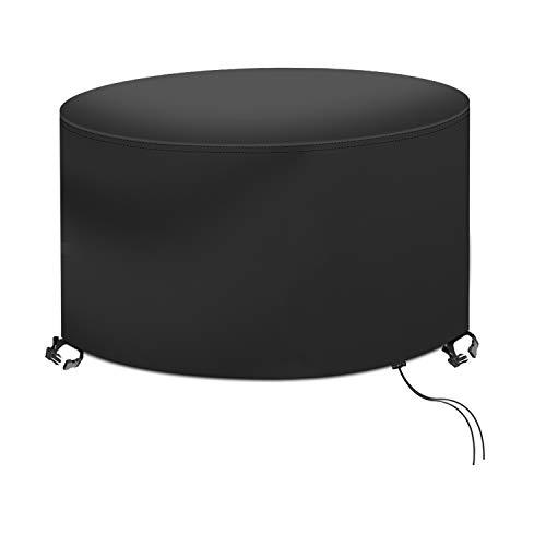 RATEL Couverture Bâche de Protection de Table, Housse de Protection pour Table Ronde Imperméable au Vent Housse Mobilier 420D Oxford Tissu Housse Salon de Jardin (Ø128x71cm)