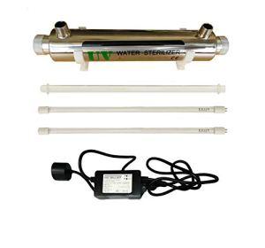Realgoal 16W UV systeme de desinfection de l'eau en acier inoxydable 304 sterilisateur UV, 2GPM ultra violet filtre a eau legere, LED & Sound ballast alarmant, ajouter extra 1 piece lampe UV