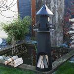 RM Design Poêle de Jardin, Cheminée de Terrasse en métal, Chauffage d'extérieur, Fournaise noire en forme de phare 131cm