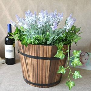 SPLLEADER Vintage Wood Whisky Barrel Planteur, 2Pcs de Jardin en Bois Pot de Fleurs Décor Plantes Boîtes de conteneur Boîte for Succulentes Cactus Herb Fleur Plante