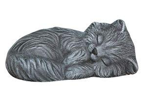 Tiefes Kunsthandwerk Statue en Pierre Chat endormi, Gris Ardoise, Pierre reconstituée