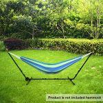 Todeco Armature en Acier pour Hamac, Support pour Hamac de Jardin Camping, avec Roues et Sac de Transport, Accessoires: Hamac Non Inclus, Dimensions: 296-380 x 107-132 x 100 cm