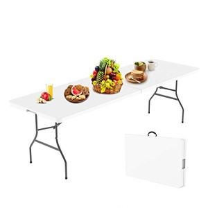 Todeco – Table Pliante,Table en Plastique Robuste, Table Pliante Transportable, 240 x 76 cm,Table en Plastique, Matériau: HDPE, Charge maximale: 100 kg,Blanc