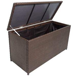 vidaXL Caisse de Stockage de Jardin Poly Rotin Marron Banc Boîte de Rangement