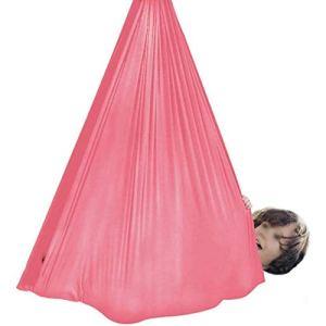 WCX Hamac d'intérieur sensoriel doux pour enfants ayant des besoins spéciaux – Capacité maximale de 200 kg – Couleur : rose, taille : 1 x 2,8 m