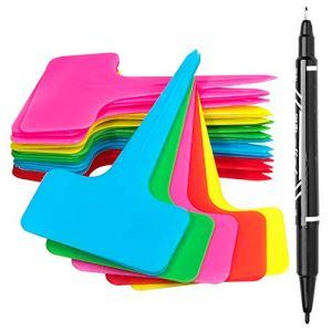 Whaline Lot de 100 étiquettes de plantes en T avec un stylo à gel, 5 couleurs en plastique imperméable pour plantes de jardin