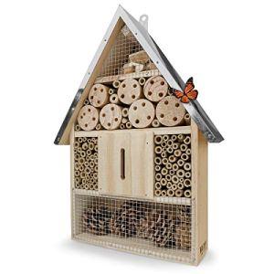 WILDLIFE FRIEND | Hôtel à Insecte en Bois avec Toit en Métal – Maison Insectes, sur Pied, Hotel a Insectes a Construire pour Abeilles, Coccinelles, Papillons et Autres Insectes, 40cm