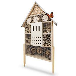 WILDLIFE FRIEND | Hôtel à Insecte XL en Bois avec Toit en Métal – Maison Insectes, sur Pied, Hotel a Insectes a Construire pour Abeilles, Coccinelles, Papillons et Autres Insectes, 76cm