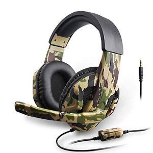 ZSDD Casque de jeu camouflage, casque de jeu avec micro, casque de jeu camouflage PS4, PC, Xbox One, casque de jeu avec microphone, ordinateur portable, téléphone