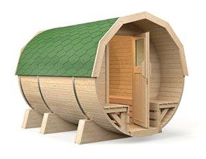 '15Tonneau Sauna Maira Premium 2,96m, avec four électrique «Irmina slim line, tremble de sauna en bois à tous les tuiles Siège Bancs intérieur (verte)