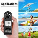 Anémomètre numérique portable pour mesurer la vitesse du vent, mesurer la vitesse du vent,la température et la vitesse maximale/moyenne/actuelle,la précision,mesurer pour la planche à voile