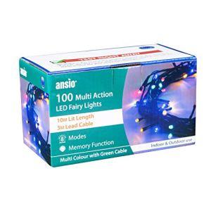 ANSIO Guirlande Lumineuse 100 LED Multicolore Lumières de Noël extérieure et intérieure avec 8 fonctions de mode Alimentation Secteur avec Longueur éclairée 10m Câble Vert