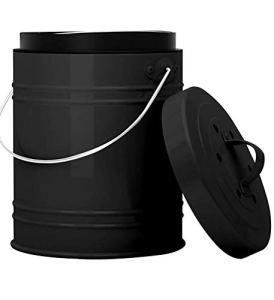 Bac à Compost de Cuisine Extra Grand de 5 litres avec Bac en Plastique & Filtres à Charbon – Noir – Construction Ro-Buste & Fermeture Etanche Contre Insectes et Odeurs