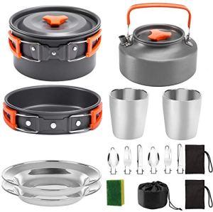 BAIYAN Ensemble de théière en Plein air Set 2-3 Personnes Camping Camping Cuissewe Porte-Nique Pique-Nique Pot Set Pique-Nique et empilablepots et casseroles (Color : Orange)