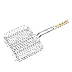 Barbecook Grille barbecue double réglable, Acier Chromé/Bouleau FSC, 32 x 25 x 5 cm