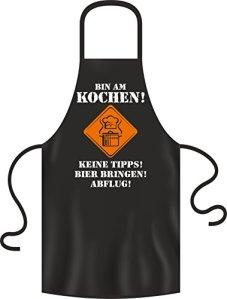 BBQ Solutions Tablier de Barbecue Tablier suis à la Cuisson Keine Tipps Bier bringen départ Citation Amusante, Noir, 28x 22x 2cm