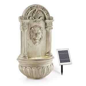 blumfeldt Löwenstein – Fontaine Murale, Jeu d'eau avec tête de Lion, Eclairage LED, Mini-Pompe, Jusqu'à 200l/h d'eau, Charme Antique, Construction Stable en polyrésine, Câble de 5 m de Long, Gris