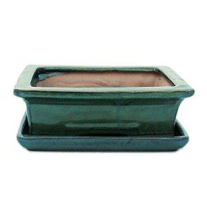 Bonsaï Bol avec sous assiette Taille 3–Vert–Rectangulaire–Modèle G29–L 18cm–B 13cm–H 6cm