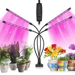 Dee Banna Grow Lights pour plantes d'intérieur 80 lampes LED avec spectre complet et spectre bleu rouge 10 niveaux de gradation et 4 têtes de croissance lampe