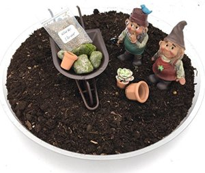DIY Nain de jardin kit–Garçon et fille Gnomes avec Jardin Féérique miniature Brouette et ensemble d'accessoires