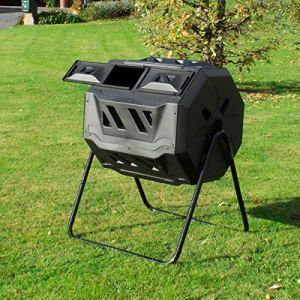 ECD Germany Tonneau de compostage – Composteur à Tambour à Double Chambre – 160 litres – avec Aération – Composteur Rotatif en Plastique – Noir – Conteneur de Compost de Jardin